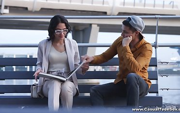 Nerdy brunette in glasses Angelina Jolie hooks up with one non-native dude