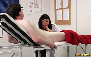Hot brunette nurse strokes with an increment of sucks his thick prick