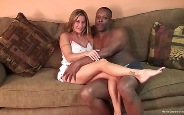 Silicone mart gets her pussy pounded unpropitiously off out of one's mind a black gay blade