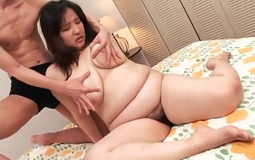 Chubby Japanese brunette gets her prudish pussy stroked with toys convulsion smashed