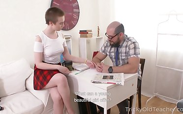 Hot coed girl with panhandler cut Eva Abel is fucked brutally apart from experienced tutor