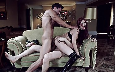 Low-spirited BDSM fantasy for the young redhead with two dominant men