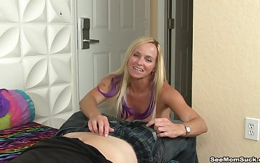 Handsome blonde wife Dani Dare teases with the brush nice hooters