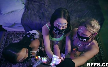 Several girls nigh a blowjob vacation fucked on POV camera