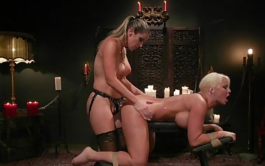 MILF botheration fucked and spanked in butch femdom XXX