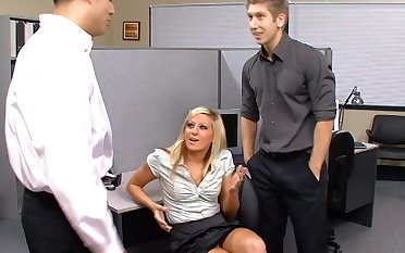 Sexy office whore Lily Kingston is down for some threeway