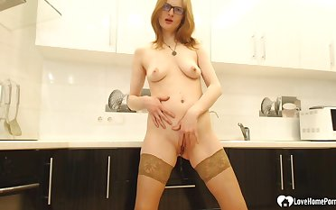 Raunchy secretary masturbates in the office's kitchen