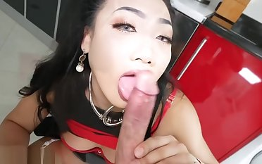 Ladyboy Paeng in the kitchen fucked bareback