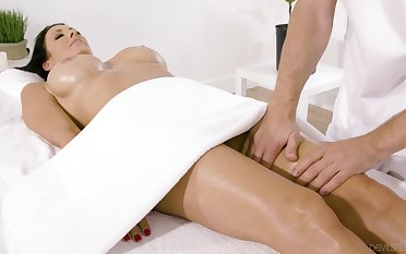 Busty full-grown receives cock via erotic massage