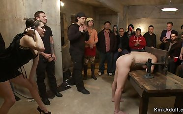 Dark Haired Lady bitch is botheration lady-love nailed back public