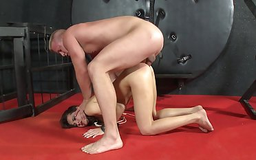 Amateur anal coitus during harsh BDSM for the midget angel