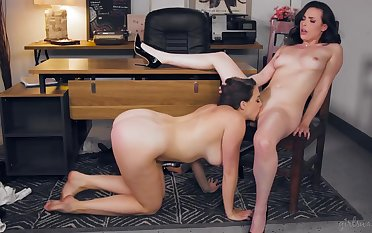 Slutty secretary is often making love with her lesbian boss and enjoying while doing a oblique 69