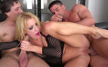 Curvy nuisance blonde fucked in both holes during a uninhibited trio