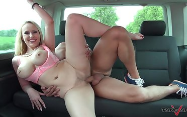 Busty blonde MILF Angel boned good in the back seat of a car