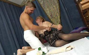 Slutty granny in stockings Marta has an speculation with horny young student