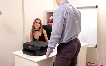 Skinny secretary has a pussy to die for