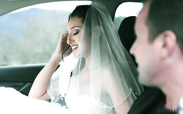 Sexy bride Bella Rolland is sharp practice on groom with his best friend