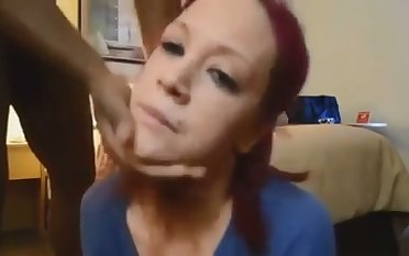 This red haired white chick is enjoying her hunger be beneficial to my chocolate horseshit