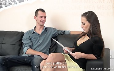 Nervous young man gets to fuck his favorite MILF pornstar Mea Melone