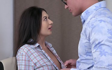 Dude kisses girl Roxy Sky fucking her untidy shaved pussy missionary