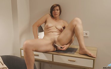 Chubby mature wifey Eleanor drops her rags to tease her whisper suppress