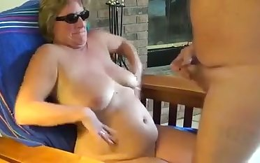 This shameless mature slattern loves making me cum with her shades on