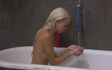 Horny german blonde bungling babe strips t shirt