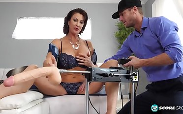 Big tits MILF likes to personify with dildo machine