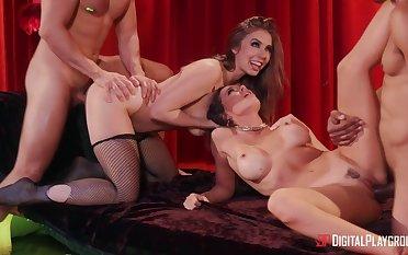 Pornstars Abigail Mac plus Lena Paul enjoy having sex with two dudes