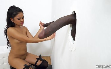 Filipina babe Violet Rae taking ergo much cock and she loves glory holes