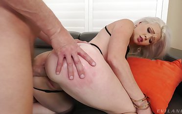 Hot blonde bends for the man's hot to trot dick