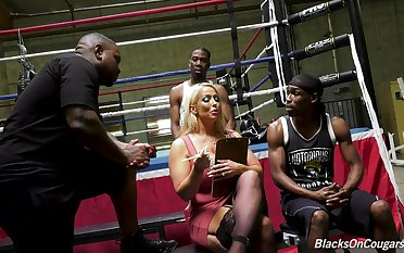 Full-grown pornstar Alura Jenson gets fucked in all holes by two BBCs