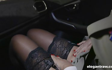 Hot Russian babe Anna Polina shows stockings upskirt relating to french policeman