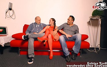 German threesome casting with amateur teen