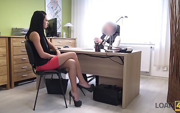 Inga's job interview goes very well cuz she is really good readily obtainable sex