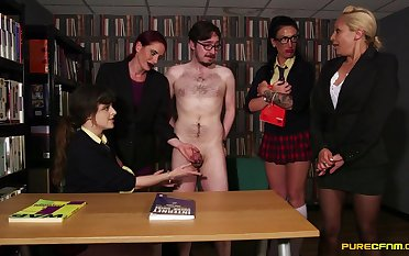 Motion picture made in the library with one lady's man getting pleased by 4 babes