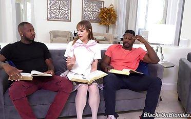 Slutty babe gets dirty helter-skelter four black men involving full anal trine
