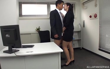 Hot berth female is shooting for the new guy's Asian cock
