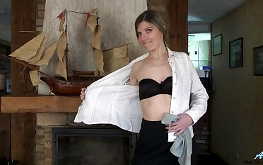 Small boobs cougar Agatha spreads her legs respecting finger her pussy