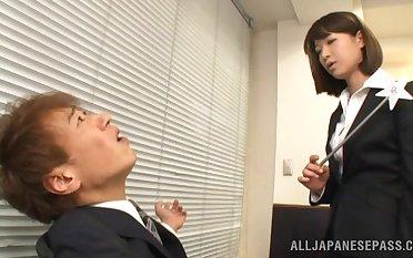Atrophied dude beside a struck dick fucks cock hungry secretary Mayu Kamiya