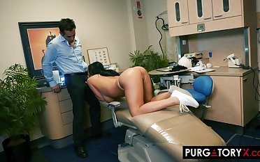 Smoking hot brunette with big gut is having hardcore sex with their way handsome dentist, forth his office