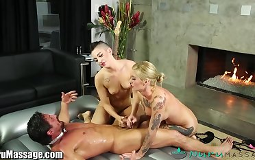 Tommy Gunn bangs team a few sexy masseuses Kleio Valentien together with Rachael Madori
