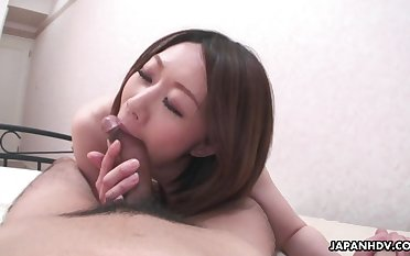 Japanese wife feels fantastic riding her lucky husband on top