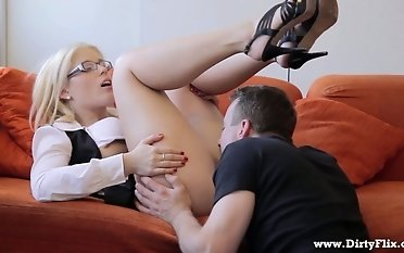 Nerdy platinum-blonde wide glasses succulent Cat gets private far detach from added to takes spunk on her glasses