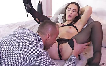 Vest-pocket Russian in morose black stockings rides age-old cock. Pt.1