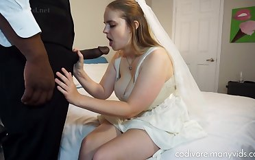 Big-Chested, perforator bride is having astounding fuck-fest with a ebony stud, right before the wedding ceremony